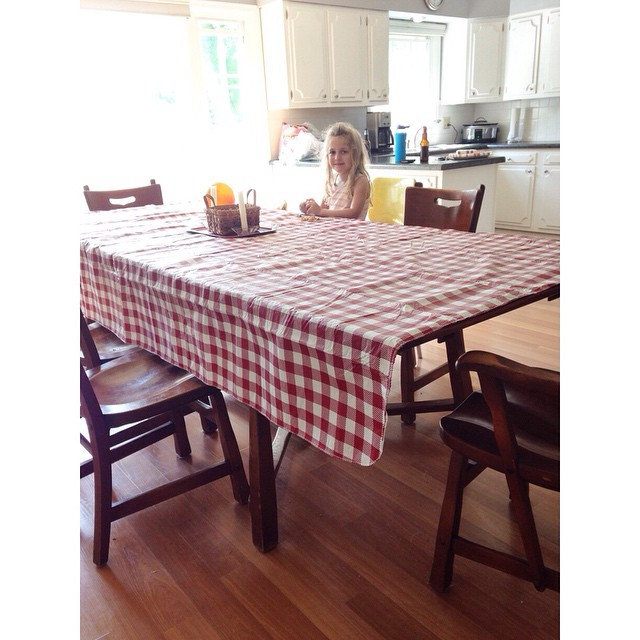 Zooey and I bought this extra long table cloth today. Need to grab a few more chairs- the family is coming over #lookslikesummer #memorialday2015