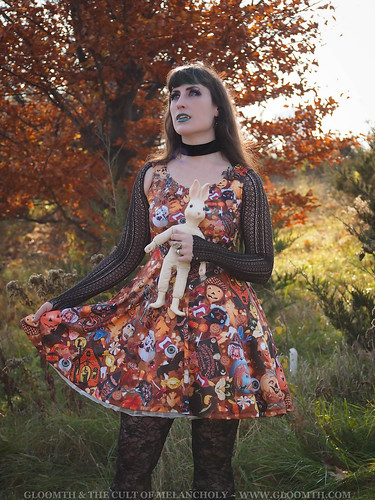 halloween theme printed skater dress