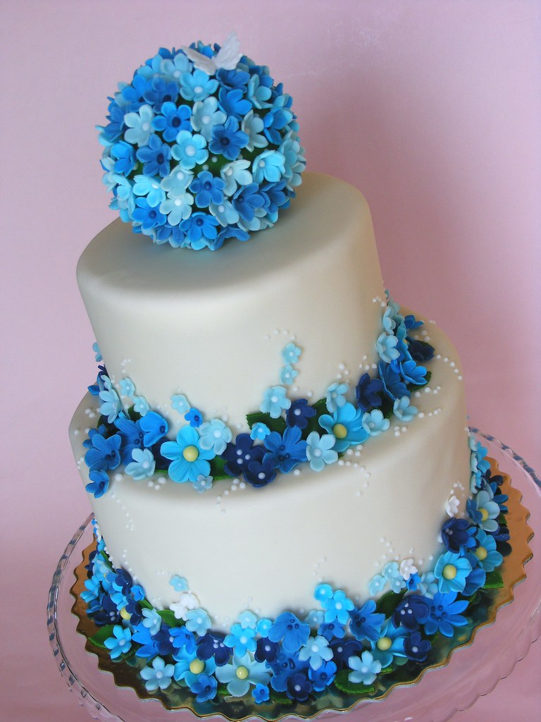 Cake Decorations Blue Flowers Perfectend for