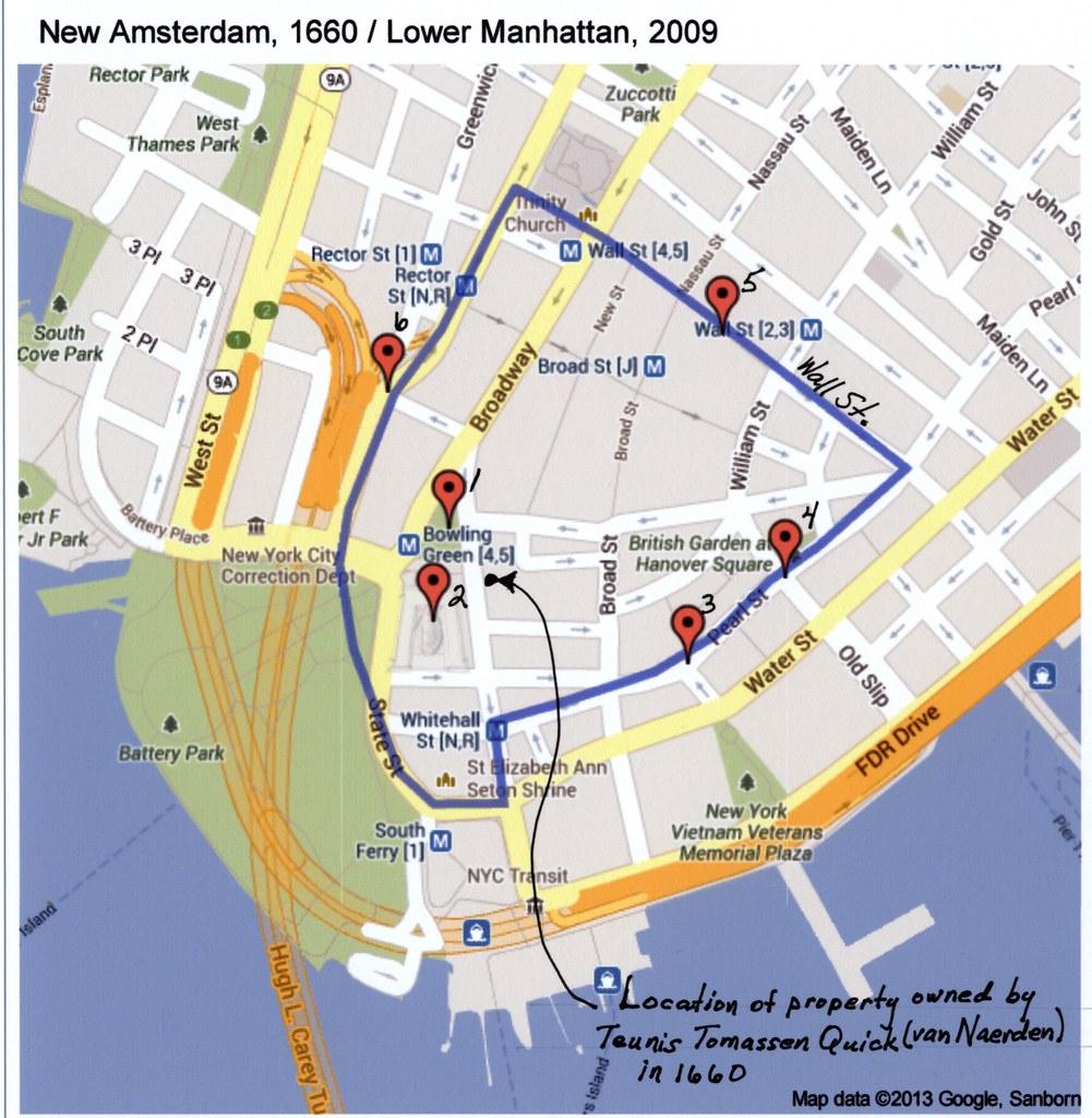 Manhattan New York New York: New Amsterdam 1660, Lower Manhattan 2009