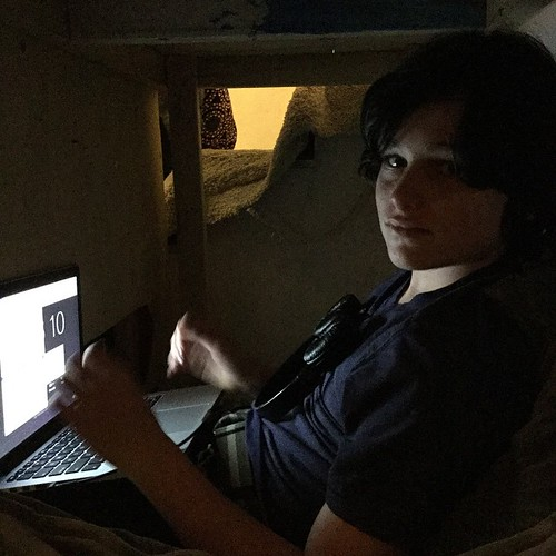 Jack secluded himself under the Theater Room stairs to source images for his film history video