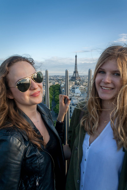 Being tourists at the top of Arc de Triomphe, Paris