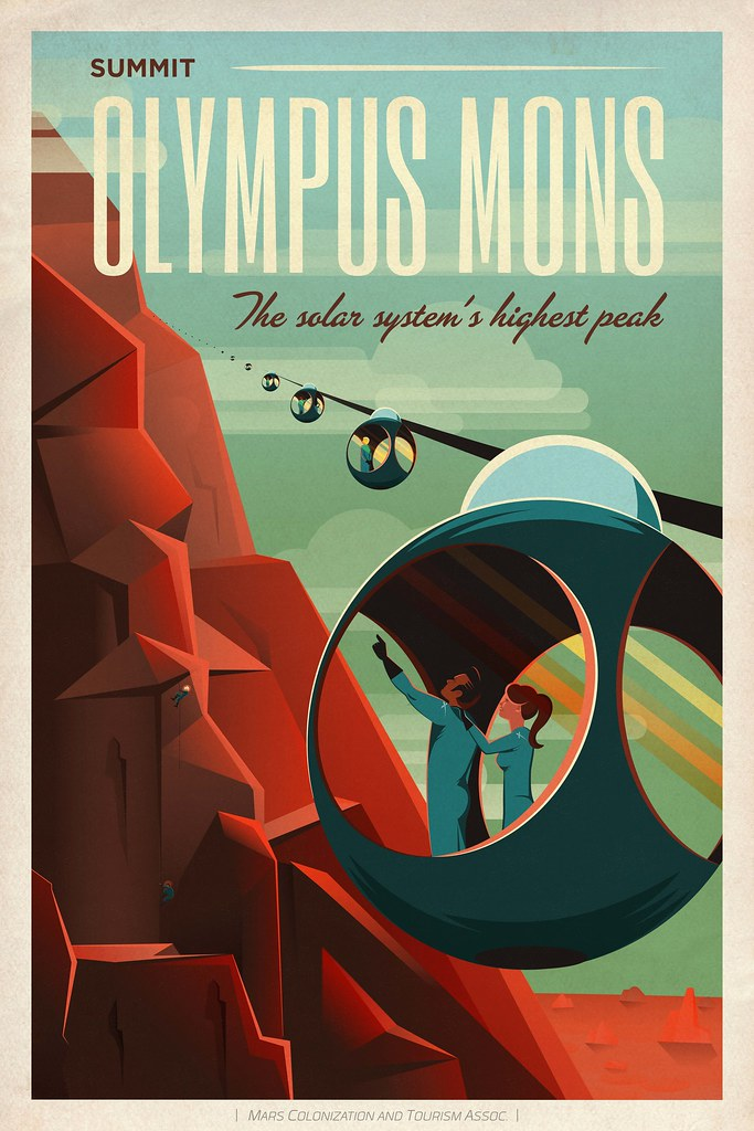 Travel poster olympus mons adventure awaits explore for Space poster design