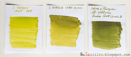J Herbin Vert Pre vs J Herbin Vert Olive vs Rohrer & Klingner Alt-Goldgrun