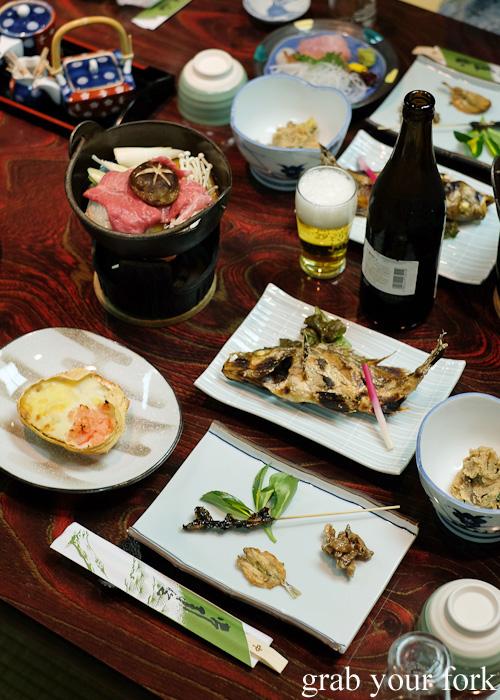 Crab gratin, beef nabemonon and grilled yanagibachime fish at Nakayasu Ryokan, Kanazawa