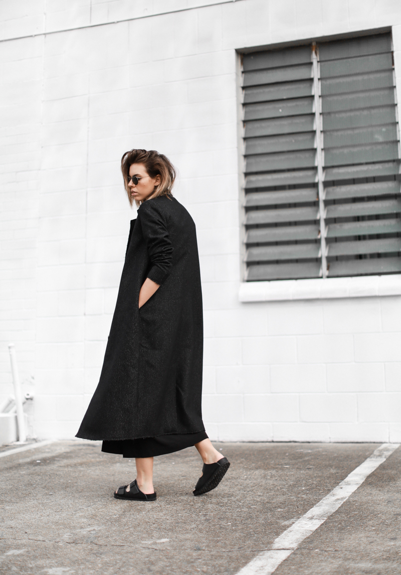 modern legacy, fashion blog, street style, all black, off duty, Birkenstocks, C&M Manhattan coat, editorial (1 of 1)