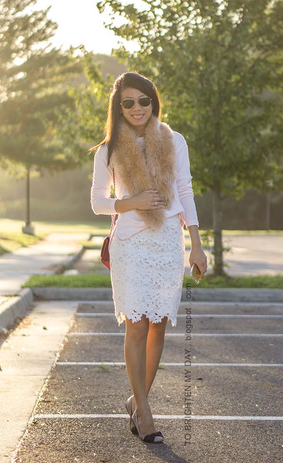 faux fur scarf, light pink sweater, mixed metal necklace, white lace pencil skirt, red shoulder bag, bow ballerina flats