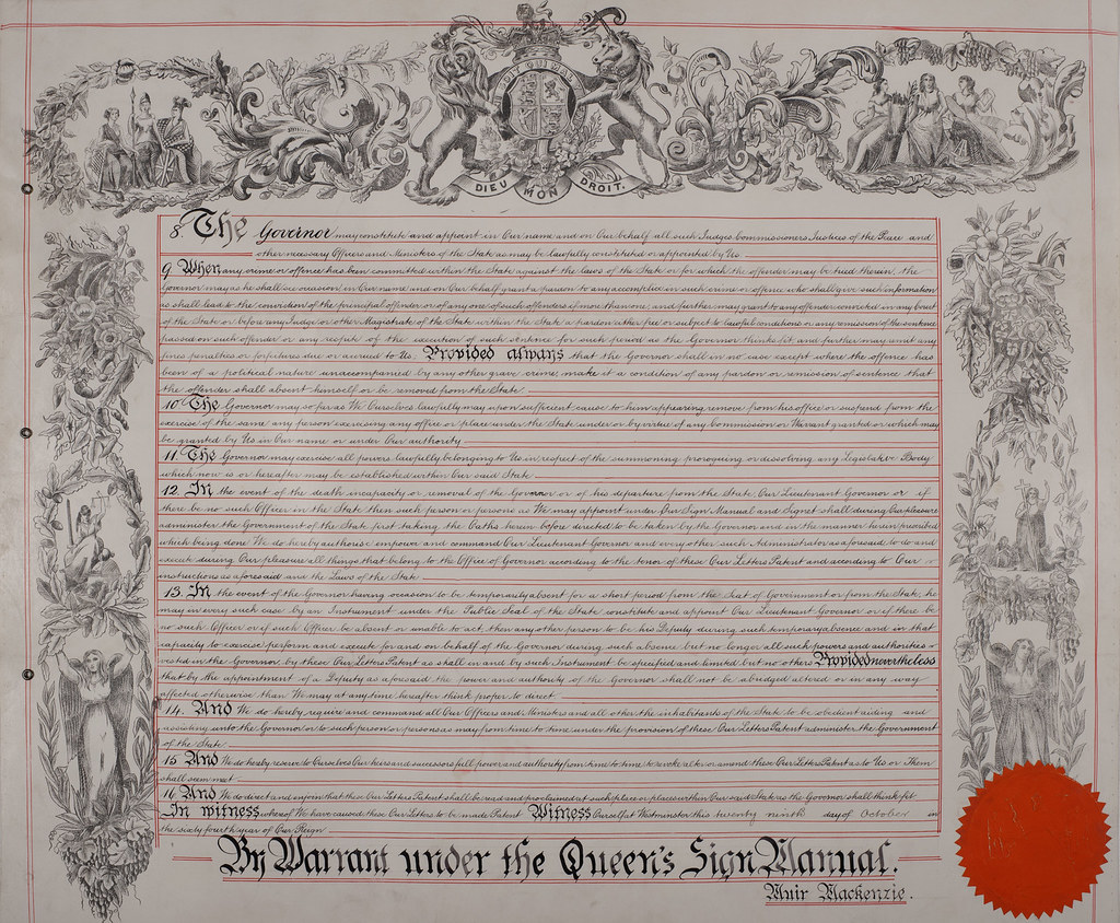 Letters Patent For The Appointment Of A Governor Of Victor