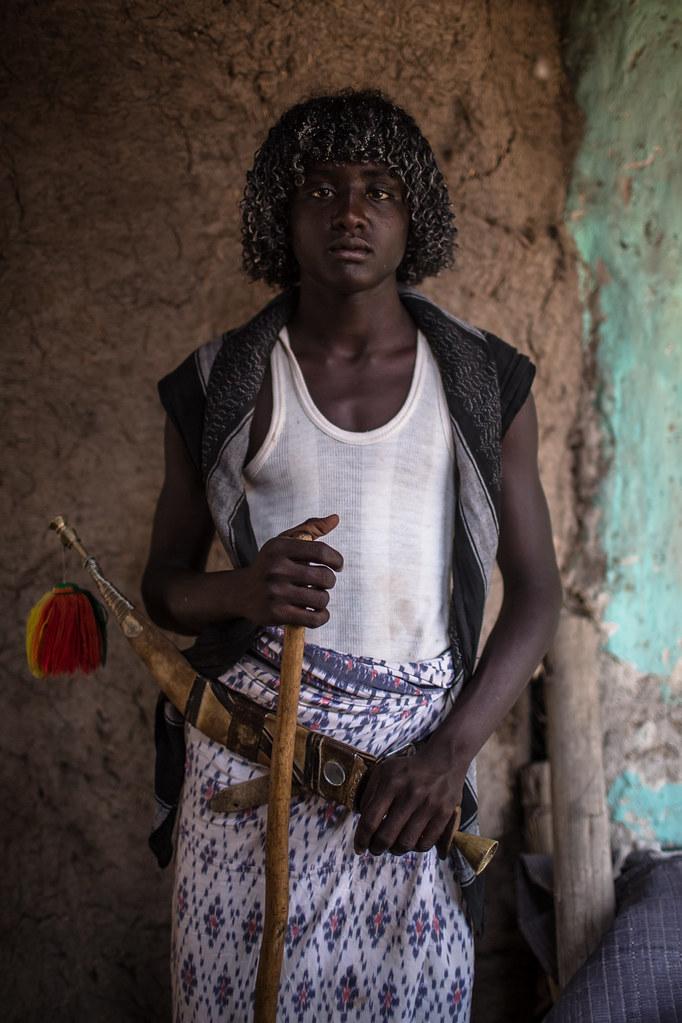 Afar Boy With The Typical Dagger Jile Afar Danakil Depr