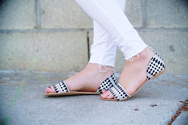 loft black and white d'orsay sandals