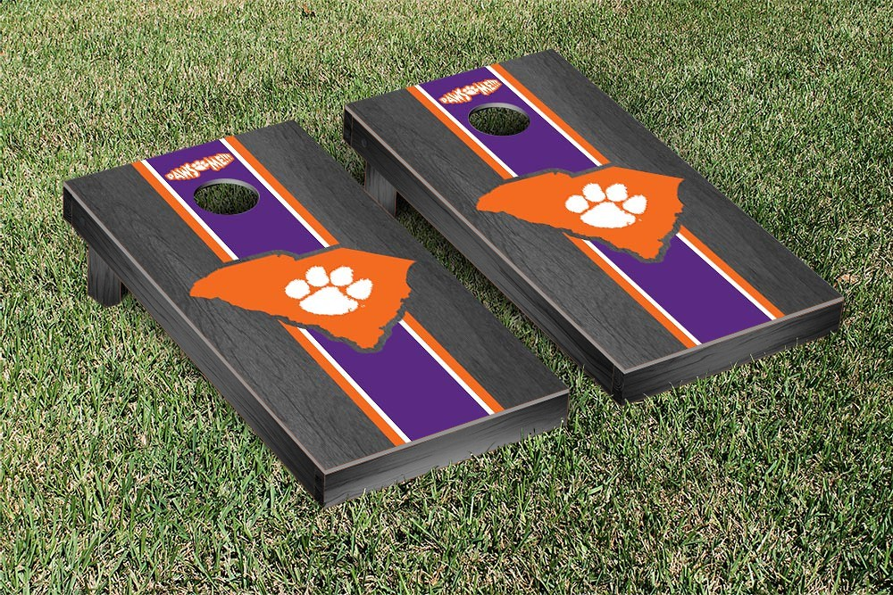 Clemson Tigers Cornhole Game Onyx Stained Stripe Version