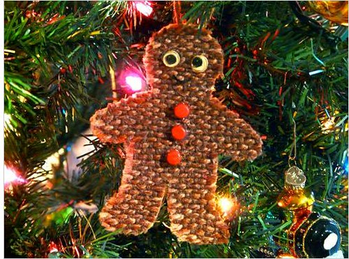 Woven gingerbread man ornament
