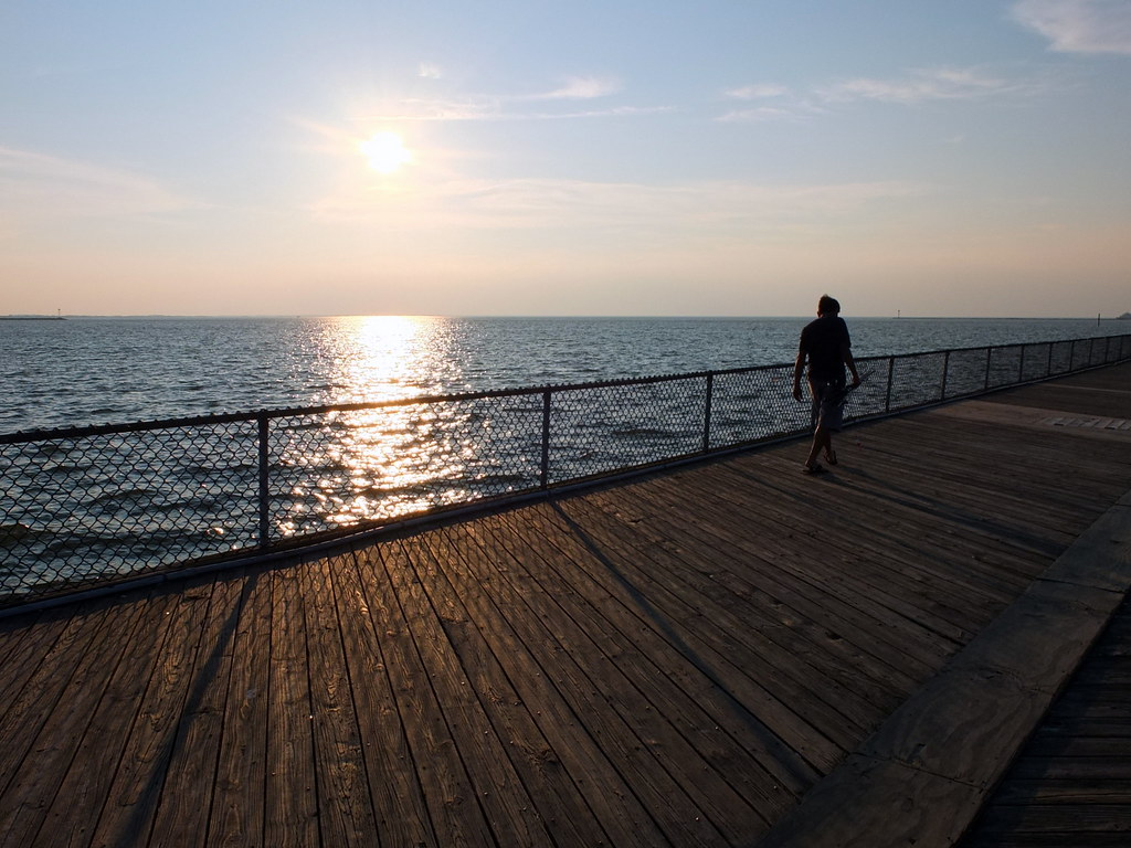 Almost sunset at the pier taken at cape henlopen state for Cape henlopen fishing report