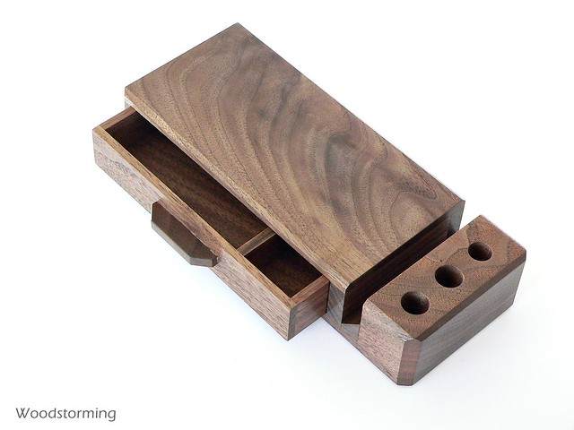 Photo - Wooden desk organizer with drawers ...