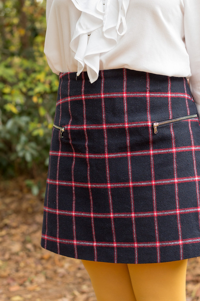 Navy Blue, Red and Gray Plaid Skirt with Zipper Details