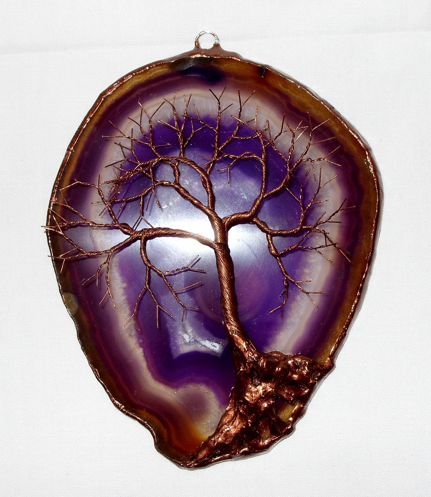 Purple Metal Wall Art copper wire tree of life metal wall art sculpture on a pur… | flickr
