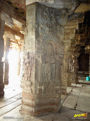 Beautifully carved pillar in Veerabhadra Swamy Temple at Lepakshi, in Andhra Pradesh, India