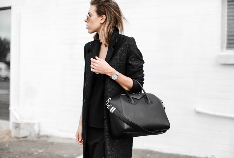 modern legacy, fashion blog, street style, all black, Givenchy Antigona medium, off duty, C&M Manhattan coat (1 of 1)