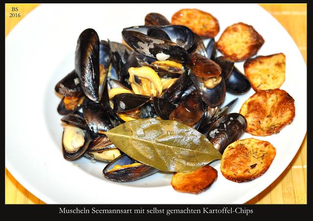 Muscheln nach Seemannsart mit selbst gemachen Kartoffelchips