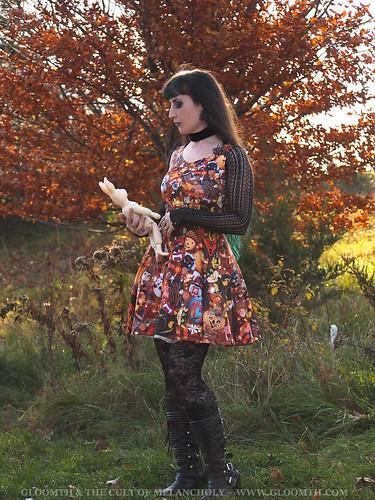 retro halloween fabric dress
