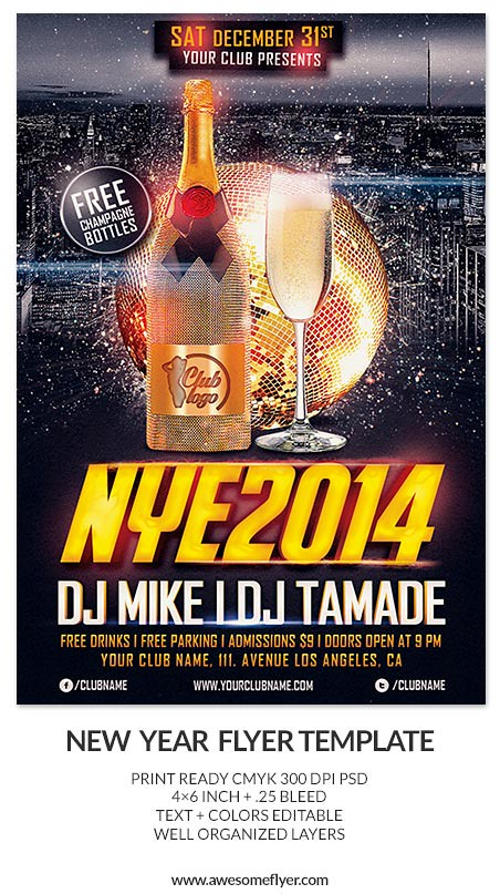 new years eve 2013 2014 party psd flyer template