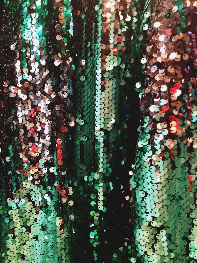 green sequinned jackets