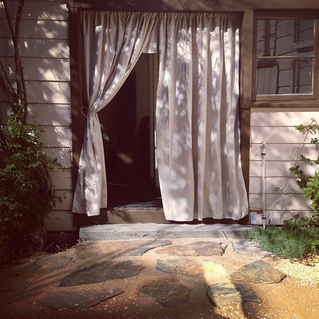 diy drop cloth outdoor curtains in the backyard cottage flickr. Black Bedroom Furniture Sets. Home Design Ideas