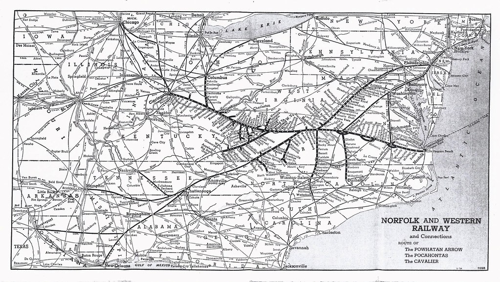 Norfolk and Western Railway, System Map, 1955   From April 2 ...