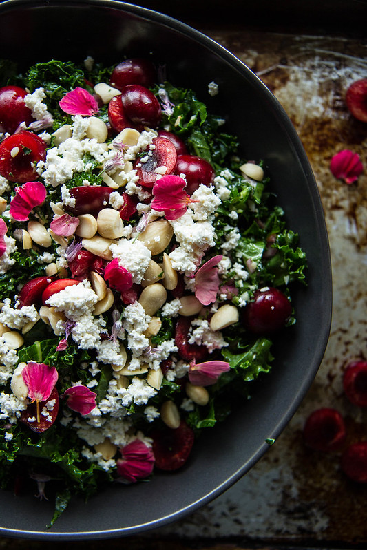 Kale, Cherry and Almond Ricotta Salad- Vegan