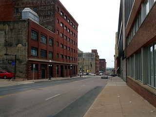 Looking south along Wall Street towards Union Depot at the end.
