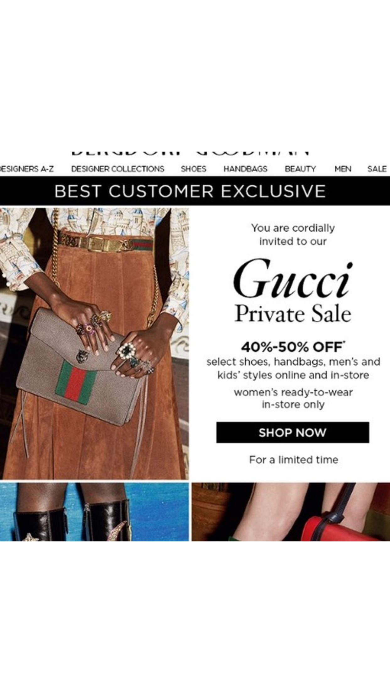 gucci on sale. and in case you are not too keen on the idea of walking shopping, neiman marcus is also quietly holding a gucci sale that includes r