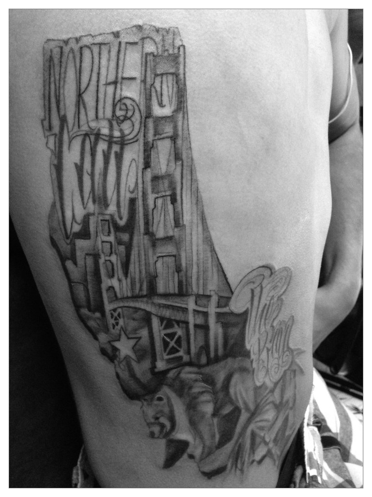 bay area golden gate bridge black and gray tattoo black