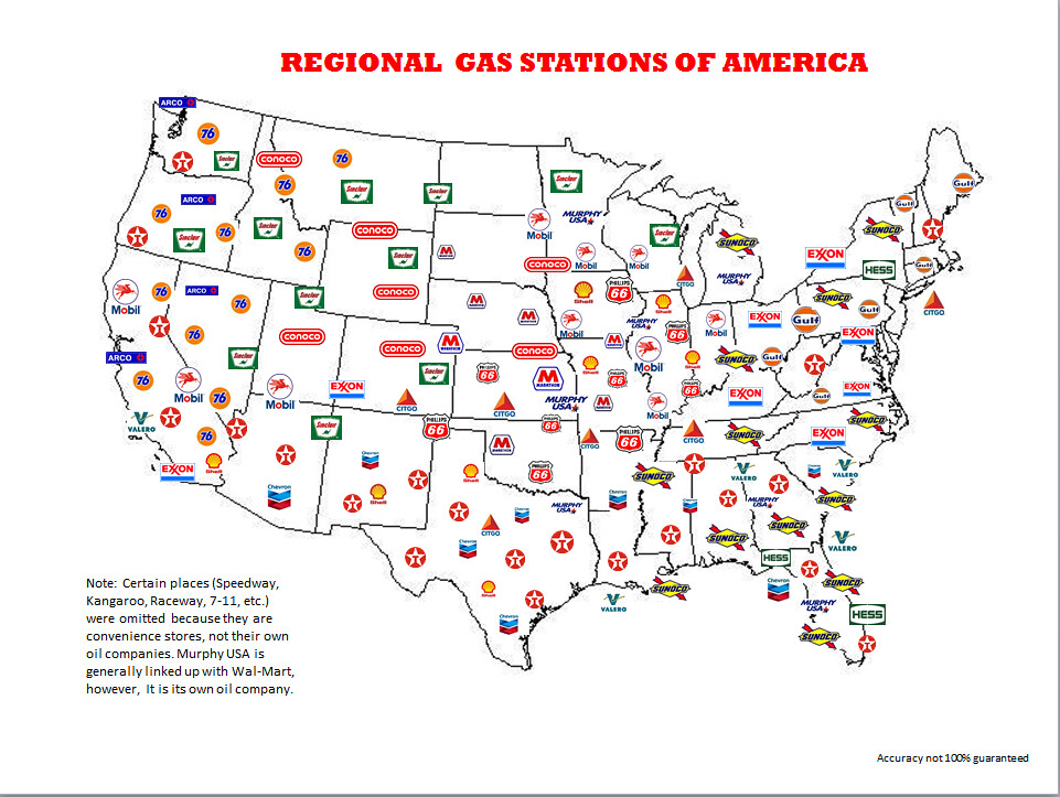 Arco Gas >> Regional Gas Stations of America | One Day, this map will ...