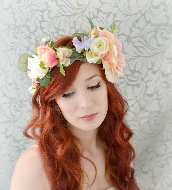 Boho flower crown, wedding head piece, bridal hair accesso ...