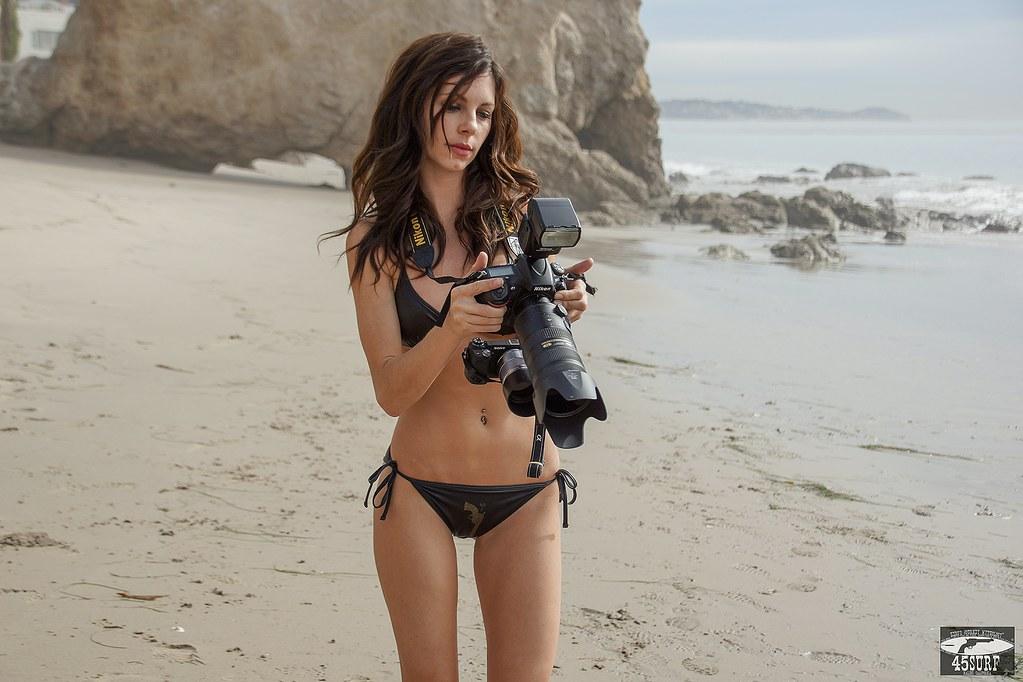 Brunette Swimsuit Bikini Model Shooting Stills Nikon D800