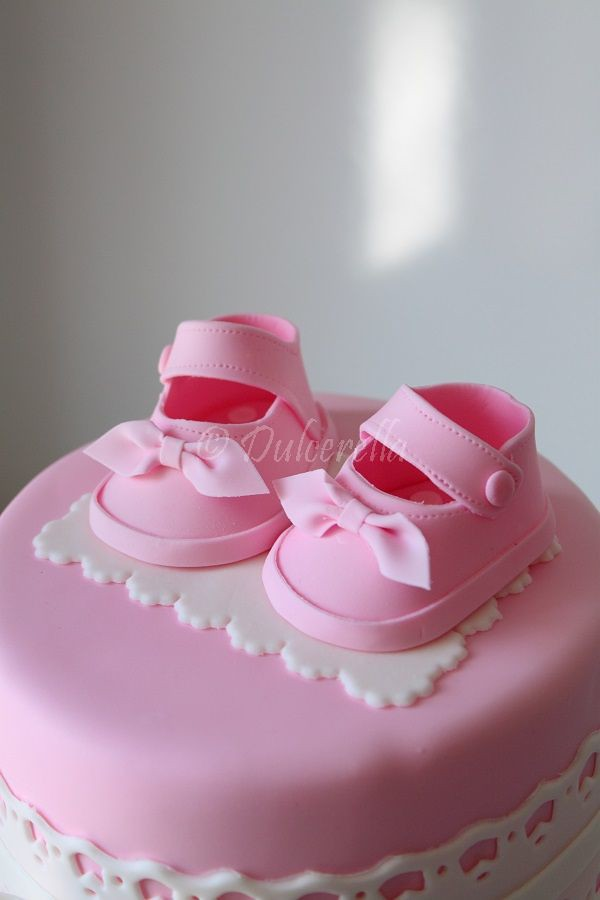 Baby Shower Cake With Booties On Cake