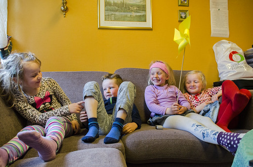 F.v. Eldrid (6), Sebastian, Tori og Nora (alle 5,5 år)