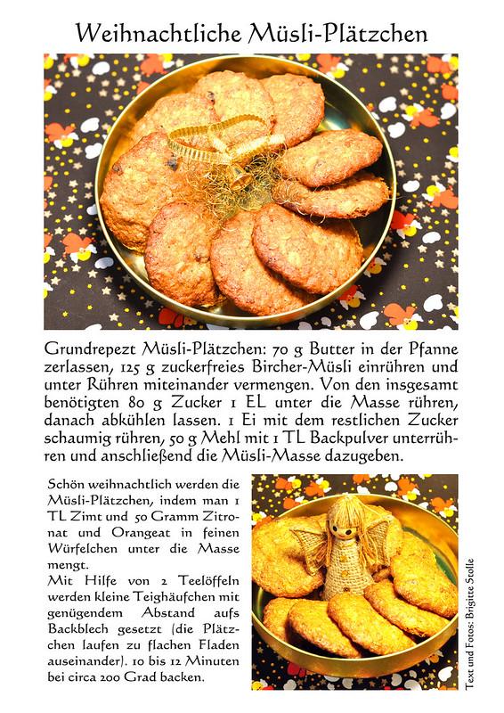 Weihnachtliche Müsli-Plätzchen mit Zimt und Zitronat/Orangeat ... Müsli Bircher-Müsli Haferflocken-Plätzchen Müsli-Plätzchen ... schnell, einfach, gut ... Fotos: Brigitte Stolle