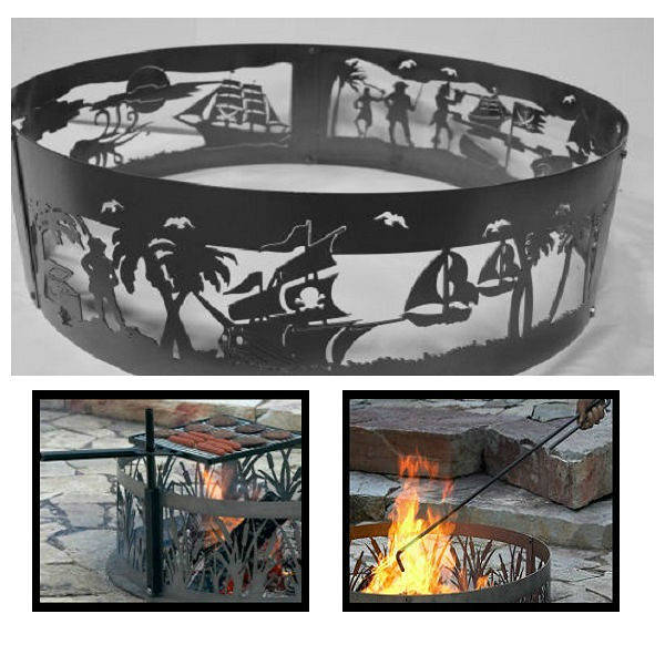 QBC Bundled PD Metals Steel Campfire Ring Pirates Life Design - Unpainted - with Fire Poker and Cooking Grill - Extra Large 60 d x 12 h - Plus Free QBC Campfire Ring Guide