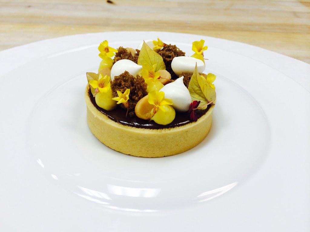 Chocolate Macadamia Tart, Passion Fruit Cremeux, Coconut M