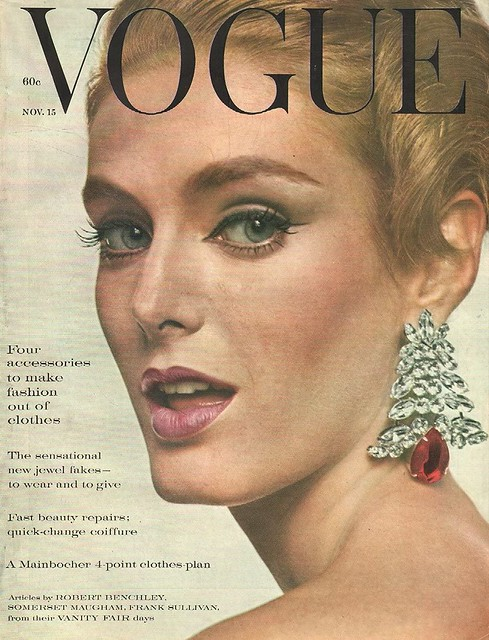 Deborah Dixon in Scaasi earrings, 1960