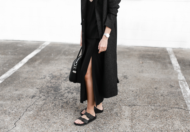 modern legacy, fashion blog, street style, all black, Birkenstocks, off duty, C&M Manhattan coat (1 of 1)