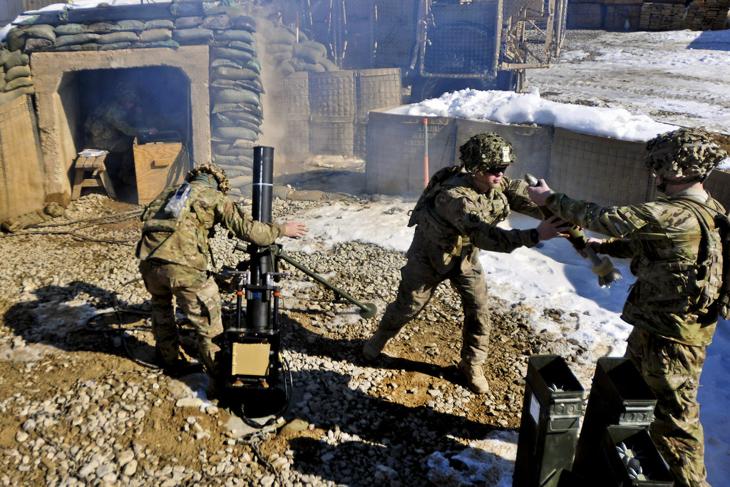 U S Army 120mm Mortar : Mm mortars soldiers with bravo troop rd battalion