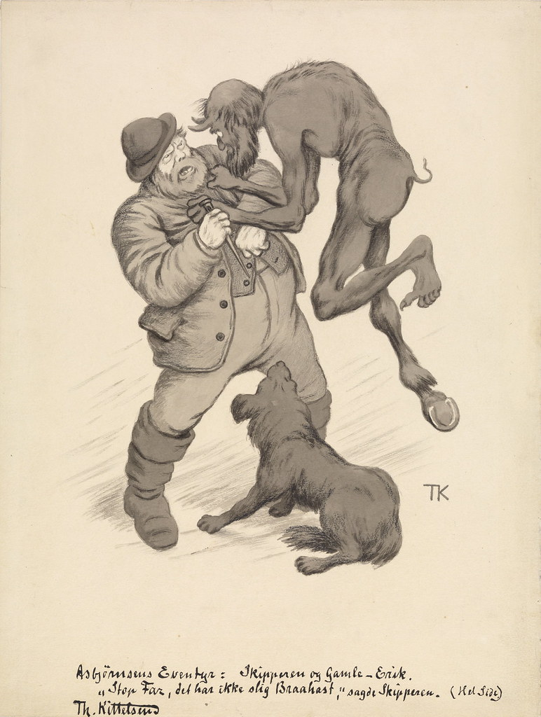"Theodor Kittelsen - "" Stop , dad , it's not such abruptness , "" said skipperIllustration for "" The skipper and the devil "" , P. Chr. Asbjørnsen , illustrated adventure . Udvalgte folktales . I. Collection , Oslo and Copenhagen in 1907"