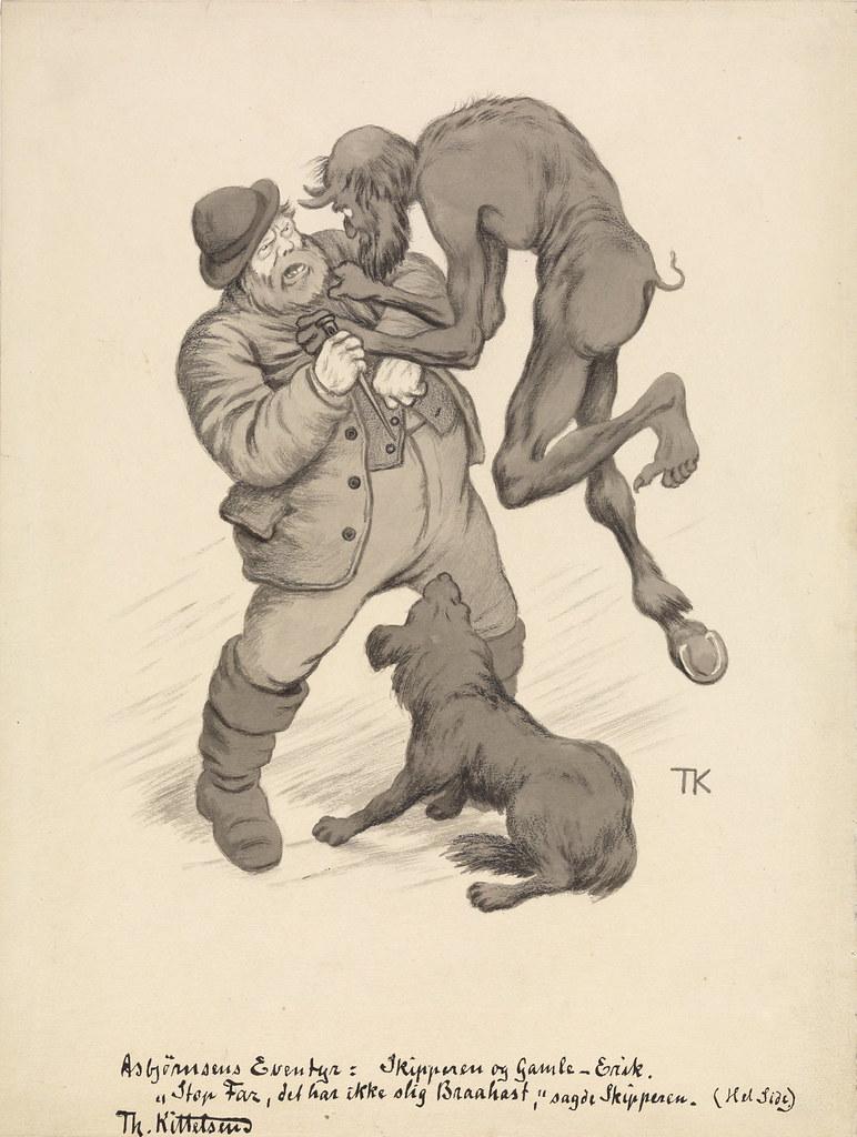 "Theodor Kittelsen - "" Stop , dad , it's not such abruptness , "" said skipperIllustration for "" The skipper and the devil "" , P. Chr. Asbjørnsen , illustrated adventure . Udvalgte folktales . I. Collection , Oslo and Copenhagen in 1907"