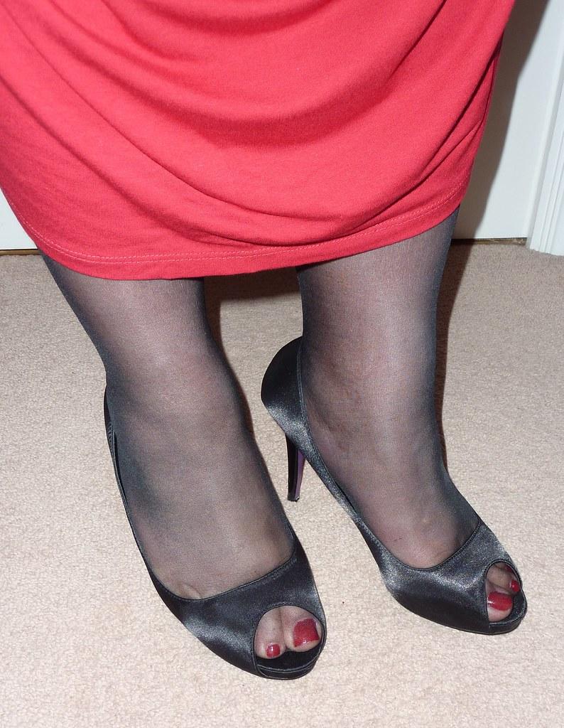 Open Toe Black Dress Shoes
