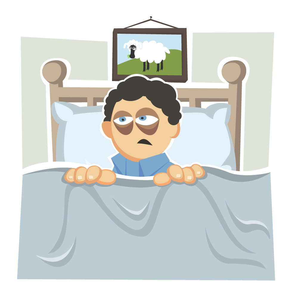 Tired And Groggy Illustration Of A Man Sitting Up In Bed