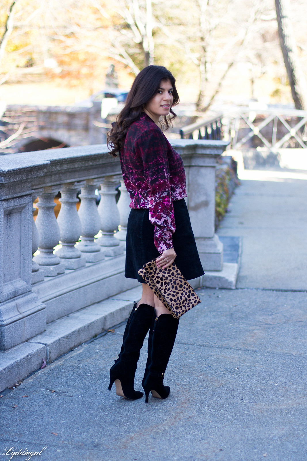 floral blouse, black suede mini skirt, knee high boots-5.jpg