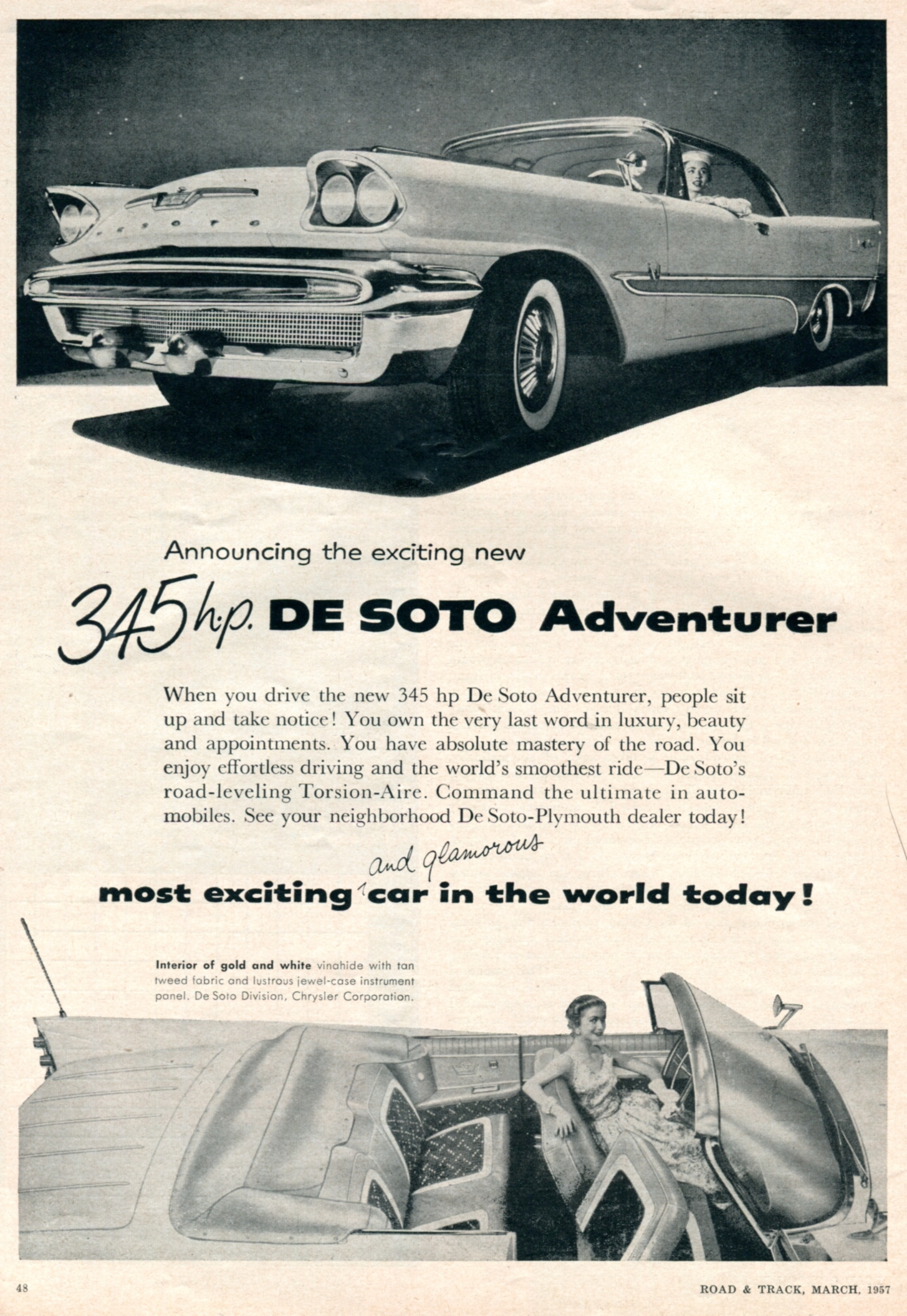 1957 De Soto Adventurer - published in Road and Track - March 1957