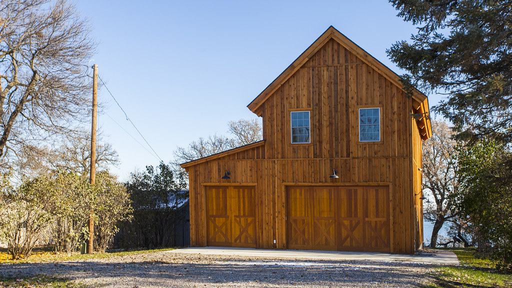 Wood barn cabin in iowa sand creek post beam flickr for Country barn homes
